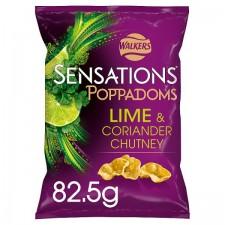 Retail Pack Walkers Sensations Lime and Coriander Chutney Poppadoms 9 x 82.5g