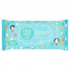 Fred and Flo Biodegradable Fragrance Free Wipes 60 Pack